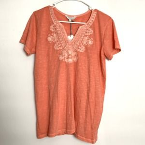 Lucky Brand Burnout Coral Orange Embroidered Shirt